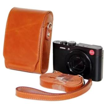 Camera Bag Case Pouch Leather Camera Case Cover For Leica V-LUX30 With Strap (Brown)