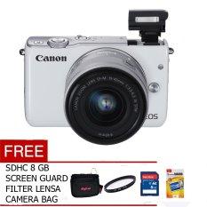 Canon EOS M10 EF-M 15-45mm - 18 MP - Putih + Gratis Screen Guard + Memory + Filter + Tas Kamera