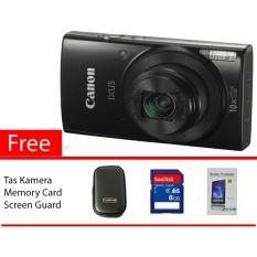 Canon Ixus 190 Black Free Memory Card, Screen Guard, Tas Kamera