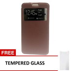 Case Flip Leather Cover for Xiaomi Mi4C - Coklat + Gratis Tempered Glass