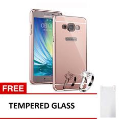 Case for Samsung Galaxy J1 2016 Alumunium Bumper With Mirror Backdoor Slide - Rose Gold +