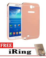 Case for Samsung Galaxy Note 2 Aluminium Bumper With Mirror Backdoor Slide - Rose Gold +