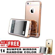 Case Metal For Apple IPhone 4/4s / 4G Aluminium Bumper With Mirror Backdoor Slide - Rose Gold + Free Case Metal Bumper Mirror Random Color