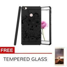 Case TPU Phone Case Dragon Back Cover Original for Xiaomi Redmi 3 pro / 3s / Prime - Black + Gratis Tempered Glass