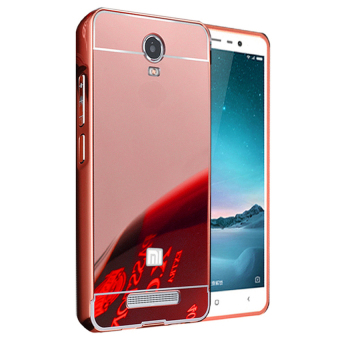 Case Xiaomi Redmi Note 2 Aluminium Bumper Mirror - Rose Gold