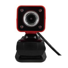 Clip-on HD Webcam 360 Degree Rotatable Web PC Camera With Night Version For PC Laptop (Red)