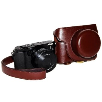 Coffee PU Leather Camera Case Bag Cover For Nikon V3 With Strap
