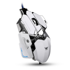 Combaterwing CW-80 Gaming Mouse 4800 DPI Optical USB Wired Professional Programmable 10 Buttons RGB Breathing LED Mice (White)