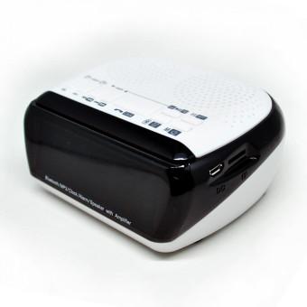Combo Portable Bluetooth Speaker Radio Clock With TF Card Slot - Putih