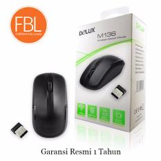 Delux M136 1600DPI Wireless Optical Mouse Black Garansi Resmi 1 Tahun