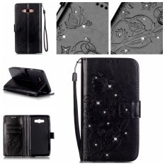 Diamonds Butterfly PU Leather Flip Stand Cover for Samsung Galaxy J7 (2016) J710 (Black)