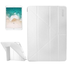 ENKAY for iPad Pro 10.5 inch Silk Texture + Plastic Bottom Case Horizontal Deformation Flip Leather Case with Three-folding Holder and Sleep Function(White) - intl