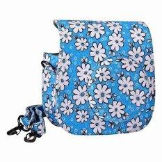Flower Denim Fabric Camera Bag Case With Shoulder Strap For Fujifilm Instax Mini 8 Fujifilm Camera (Blue)