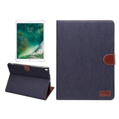 For iPad Pro 10.5 inch Denim Cloth Texture Surface Horizontal Flip Leather Protective Case with Holder and Card Slots and Wallet and Sleep(Black) - intl