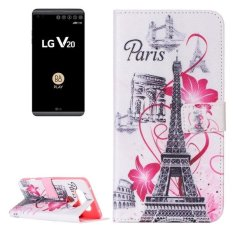 For LG V20 Flower And Tower Pattern Horizontal Flip Leather Case With Card Slots and Wallet and Holder - intl