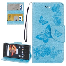 For Sony Xperia X Compact Butterflies Embossing Horizontal Flip Leather Case With Holder and Card Slots and Wallet and Lanyard(Blue) - intl