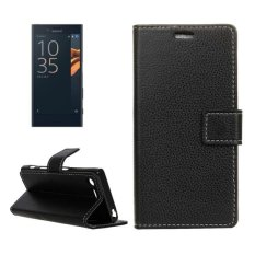 For Sony Xperia X Compact Litchi Texture Horizontal Flip PU Leather Case With Magnetic Buckle and Holder and Card Slots and Wallet and Photo Frame(Black) - intl