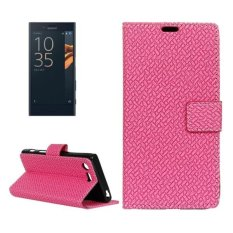 For Sony Xperia X Compact Weaving Texture Horizontal Flip PU Leather Case With Magnetic Buckle and Holder and Card Slots and Wallet and Photo Frame(Magenta) - intl