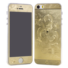 Front / Back 3D Dragon Plating Shine Skin Sticker Cover FilmUltrathin Tempered Glass Screen Protector Guard For IPhone 5/5S(Gold)