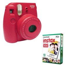 Fujifilm Instax Mini 8 Instant Camera (Raspberry) + Fuji White Edge Instant 10 Film (Intl)