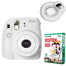 Fujifilm Instax Mini 8 Instant Camera (White) + Fuji White Edge Instant 10 Film + Close-up Lens