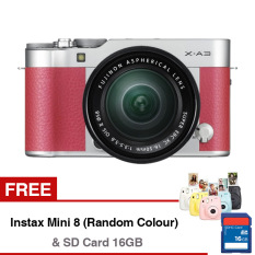 Fujifilm X-A3 Mirrorless Camera with XC 16-50mm Lens - 24.2MP - Compatible with Fujifilm App - Wifi - Pink + Gratis SD Card 16GB + Gratis Instax Mini 8 (Random Color)