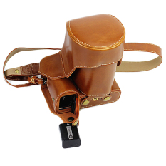 Full Protection Bottom Opening Version Protective PU Leather CameraCase Bag With Tripod Design Compatible For Sony ILCE-7M2 A7ii WithShoulder Neck Strap Belt Brown