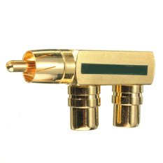 Gold Plated AV Audio Splitter Plug RCA Adapter RCA Converter 1 Male To 2 Female (Green)