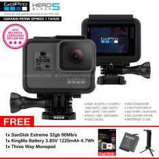 GoPro Hero5 Black 4K Ultra HD Camera (Resmi IndoGP) + SanDisk Extreme 32Gb 90Mb/s + 1pcs KingMa Battery 3.85V 1220mAh 4.7Wh + Three Way Monopod