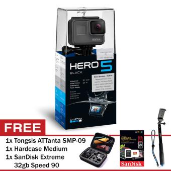 GoPro Hero5 Black + SanDisk Extreme 32gb speed 90 + Hardcase Medium + Tongsis ATTanta SMP-09