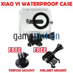 GStation WaterProof Case for Xiaomi Yi Action Camera + Tripod Mount + Helmet Mount - White