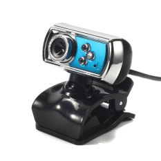 HD 12.0 MP 3 LED USB Webcam Camera With Mic & Night Vision For PC Blue