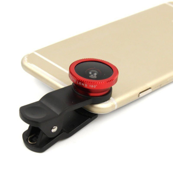 HKS 3 In 1 Universal Clip On Camera Lens For Cell Phones (Red)