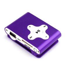 HKS 32GB Mini Clip Metal USB MP3 Player Support Micro SD TF Card Music Media (Purple) (Intl)