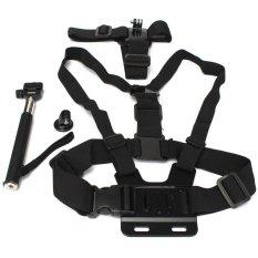 HKS Black Chest Head Mount Monopod For Outerdoor Accessories For GoPro Hero 1 2 3 4 (Black) (Intl)