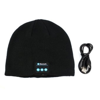 HKS Fashionable Autumn And Winter Warm Cashmere Hat With Bluetooth Function (Black)