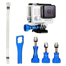 HKS XCSOURCE 3in1 Set Kit Accessories Aluminum Screws + Steel Tether + Wrench For Gopro Blue (Intl)
