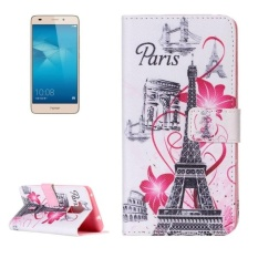 Huawei Honor 5c Flower And Tower Pattern Horizontal Flip Leather Case With Holder and Card Slots and Wallet - intl