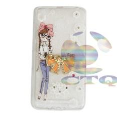 Icantiq Case Xiaomi Redmi 3X Softshell Swarovski Animasi Perempuan Berkacamata Unik Holder Ring .