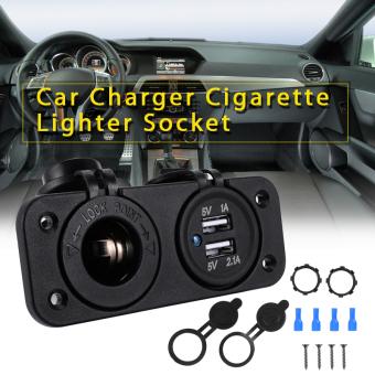 12V 2 USB Car Charger Adapter Cigarette Lighter Socket Outlet Cable Fuse (Intl)
