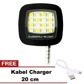 ZenBlade Lampu Selfie Flash Light Untuk Smartphone - Hitam + Gratis Kabel Charger