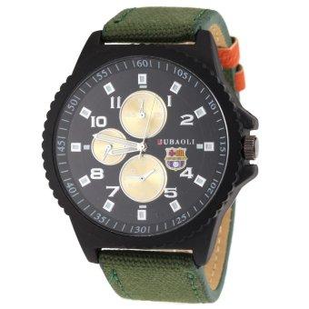 360DSC JUBAOLI 1010 Men's Arabic Numerals Round Dial with Three Sub-dials Quartz Analog Canvas & PU Leather Band Wrist Watch - Army Green