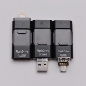 Harga OTG Iphone Android 3 in 1 64GB Flashdrive BLACK   usb otg android iphone  