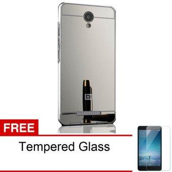 Case Xiaomi Redmi Note 2 Aluminium Bumper Mirror + Gratis Tempered Glass - Abu - abu ...