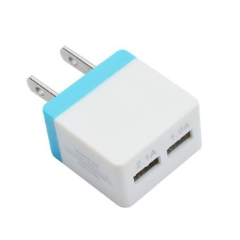 Square Candy Color Charger 2.1A USB Dual Port Cable Wall Charger Charging Head USB Adapter - intl