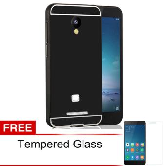 Case Mirror Aluminium Bumper For Xiaomi Redmi Note 2 - Hitam + Gratis Tempered Glass ...