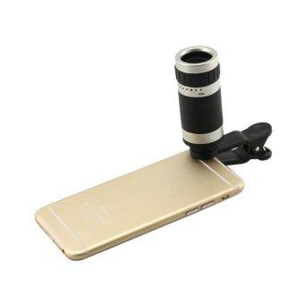 Uniqtro Smartphone Telezoom - Lensa Zoom Untuk Smartphone 8x Zoom Tipe Jepit - Silver
