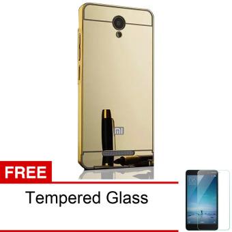 Case Xiaomi redmi note 2 Alumunium Bumper With Mirror Backdoor Slide - Emas + Gratis Tempered Glass ...