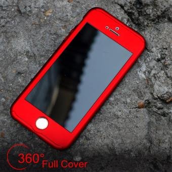 Hardcase Case 360 Iphone 5 / 5s / 5SE Casing Full Body Cover - Merah + Free Tempered Glass
