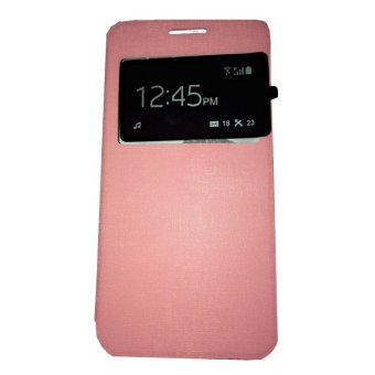 Ume Flip Shell / FlipCover for Samsung Galaxy A5 A500 / Samsung A5 Leather Case / Sarung HP / View - Pink